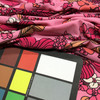 3.325 Yard Piece of Pink Peach Magenta White Floral Knit Spandex Fabric   Lightweight Apparel   T-Shirts, Activewear