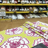 """Snappy Poppy in Honeydew   Modern Floral in Chartreuse and Pink   Upholstery / Drapery Fabric   P/Kaufmann   54"""" Wide   By the Yard"""