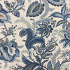 """Jacobean Floral in Blue and Off-White   Drapery / Upholstery Fabric   Linen-Like   54"""" Wide   By the Yard"""