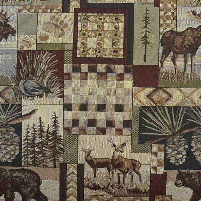 Peters Cabin Upholstery Fabric in STONE   Rustic Tapestry Log Cabin By The Yard