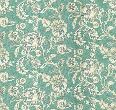 """Turquoise Blue Beige White Floral Batik Style Drapery Fabric By The Yard 54""""W"""