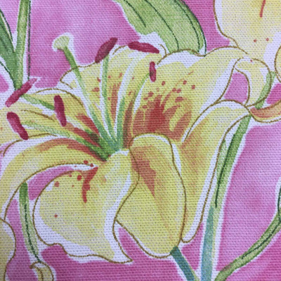 """Waverly Seaside Lily in Petunia Pink Floral Drapery Fabric By The Yard 54""""W"""
