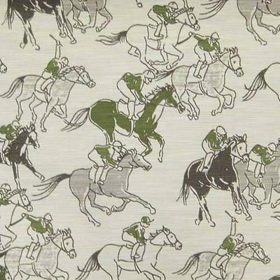 Horse Race Fabric Green Brown Jockeys Horses Upholstery Regal Belmont Leaf Green