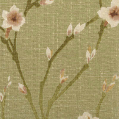 Duralee 42135-212   Apple Green   Linen Floral Drapery Fabric with Pink Mauve