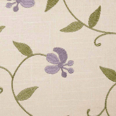 Linen Fabric By Duralee 73014-45   Lilac   Embroidered Cotton-Linen Fabric