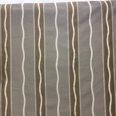 Shimmering Tan Brown Gold Stripe   Sateen Reversible Upholstery & Curtain Fabric