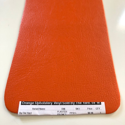 """Orange Upholstery Vinyl Sold By The Yard.   54""""W."""
