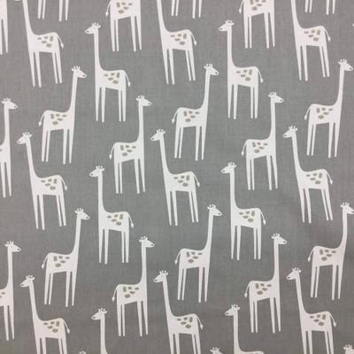 Giraffe Themed Kids  Fabric | Upholstery / Drapery Fabric / Gray Colors