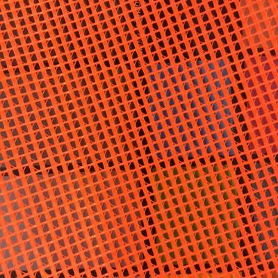 NEON HUNTER ORNGE Vinyl Utility Mesh Fabric    Marine / Upholstery Fabric. 9x9grid