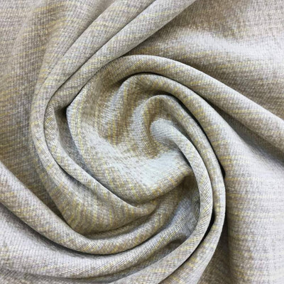 """Beige Chenille with Subtle Yellow Striping Upholstery Fabric 