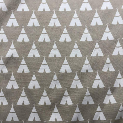 """White Tipi Tents on Tan Upholstery / Drapery Fabric   54"""" Wide   By the Yard"""