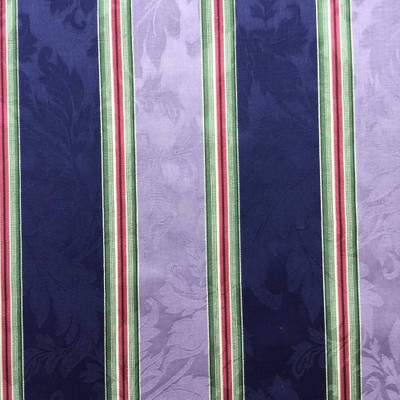 Capulet Stripe in Navy and Lavender Brocade Upholstery Fabric   54 Wide   BTY