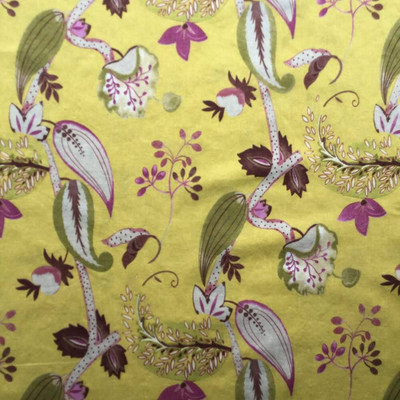 Foliage in Grape and Chartreuse Upholstery / Drapery   54 Wide   By the Yard