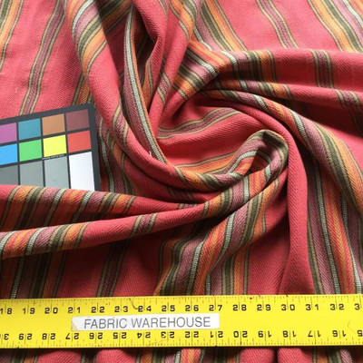 Twill Vertical Stripes in Red and Orange Upholstery Fabric | 54 W | By the Yard