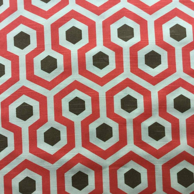 """Hexagon Geometric in Salmon and Brown Home Decor Fabric 