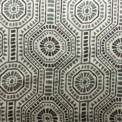 "Tribal Geometric Hexagon in Green | Home Decor Fabric | 54"" Wide | By the Yard"