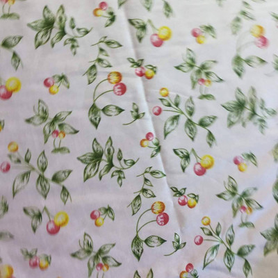 Pink Yellow Cherry Print Lightweight Woven Fabric   Poly Cotton   Drapery Apparel Lining Crafts