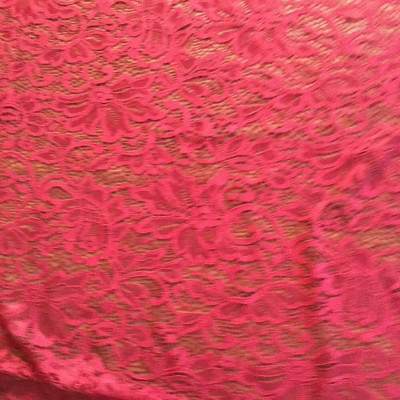 """Dark Red Stretch Lace Fabric 