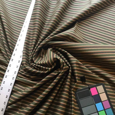 Forest Green with Red / Purple / Tan Striped Upholstery Fabric   54 W   BTY