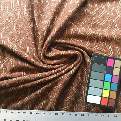 Rusted Red Geometric Upholstery Fabric   BTY   54 Wide   Vintage Theme