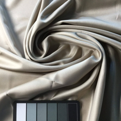 Silvery Beige Satin Fabric   Woven Poly   Apparel Linings Lingerie Drapes Crafts