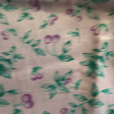 Purple Teal Cherries Print Lightweight Woven Fabric | Poly Cotton | Drapery Apparel Lining Crafts
