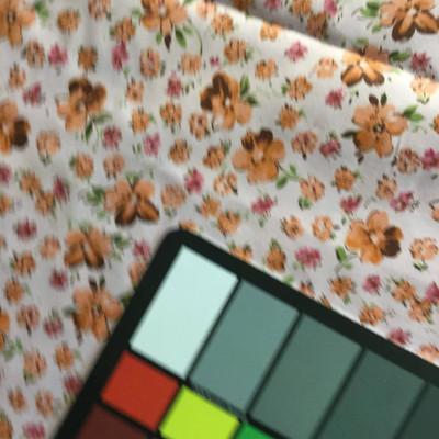 Pink Orange Floral Print Lightweight Woven Fabric   Poly Cotton   Drapery Apparel Lining Crafts