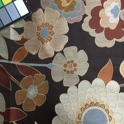 Retro Large Scale Flowers in Brown / Blue   Upholstery Fabric   56 Wide   BTY