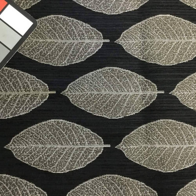 Black with Large Gray Leaves   Upholstery / Slipcover Fabric   54 Wide   BTY