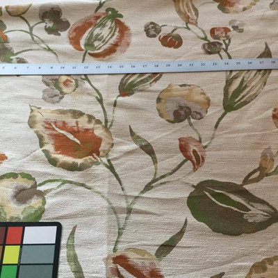Leaf Fronds with Flowers | Beige / Green / Orange | Upholstery Fabric | 60 W