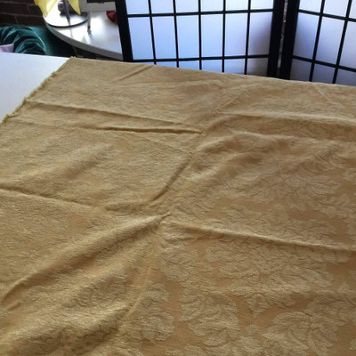 Chenille Damask in Golden Yellow | Upholstery Fabric | 54 Wide | By the Yard
