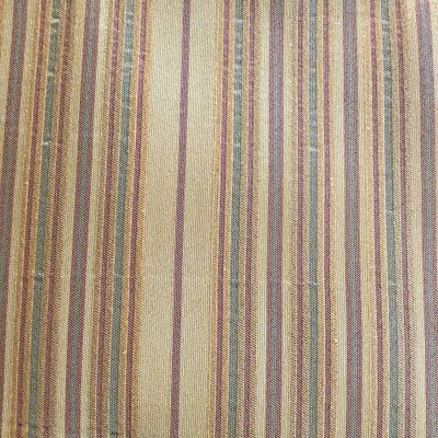 Golden Horizontal Stripes with Red and Green   Upholstery Fabric   54 Wide   BTY