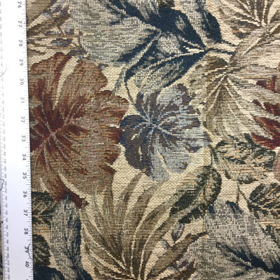 Tropical Leaves in Tan / Red / Black   Upholstery Fabric   54 Wide   By the Yard