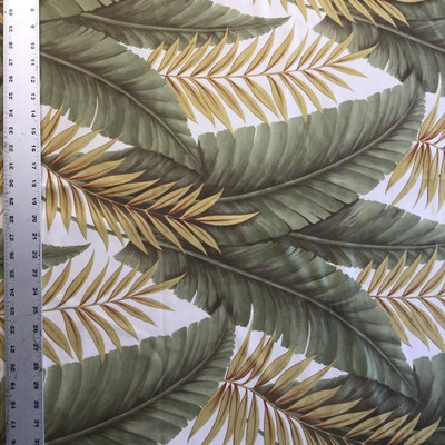 Tropical Leaves | Green and White | Knit Home Decor / Apparel Fabric | 62 Wide