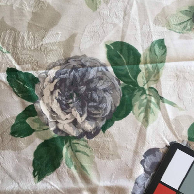 Roses with Floral Brocade in Green, Cream, and Taupe | Home Decor Fabric | 55 W