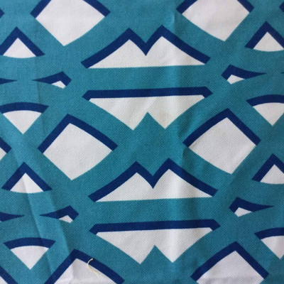 Large Scale Lattice in Blue and White   Home Decor Fabric   54 W   By the Yard