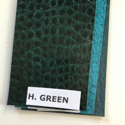 HUNTER GREEN - Glossy Faux Snake Skin Upholstery Vinyl   CROCCO   BTY  