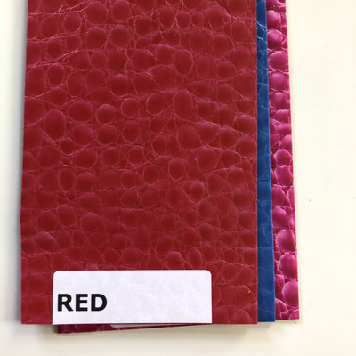 RED - Glossy Faux Snake Skin Upholstery Vinyl   CROCCO   BTY  