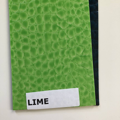 LIME - Glossy Faux Snake Skin Upholstery Vinyl | CROCCO | BTY |