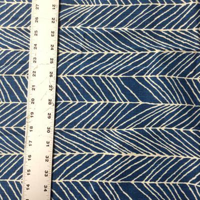 Herringbone Sketch in Blue / White | Drapery Fabric | 45 Wide | By the Yard