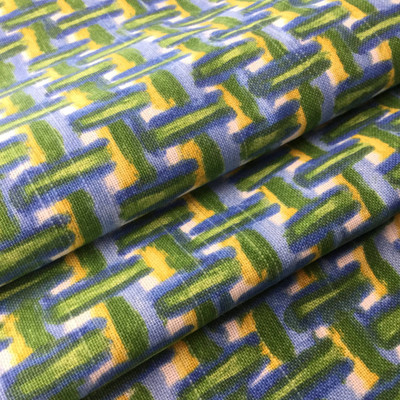 Painterly Basketweave Green / Blue / Yellow | Home Decor Fabric | 54 Wide | BTY