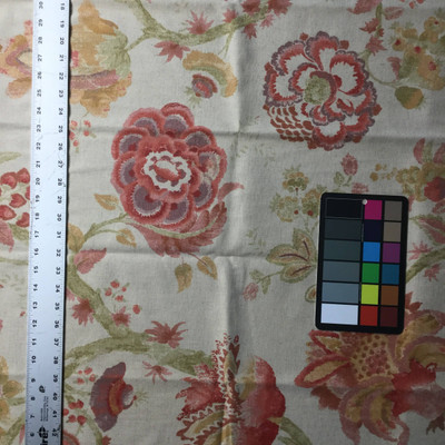 Large Scale Floral   Red / Tan / Pink   Home Decor Fabric   Richloom   54 Wide