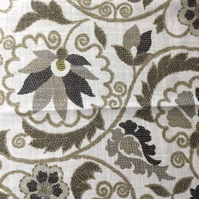 "Jacobean ""Crewel"" Floral | Home Decor Fabric | Tan / Gray / Beige | 54 Wide |"
