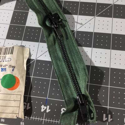 "47"" 3-pull Metal Zipper | Sage Green  | Military | Bag Zipper"