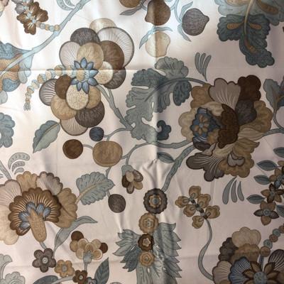 Jacobean Floral Teal / Brown / Beige | Home Decor Fabric | P/Kaufman | 54 W