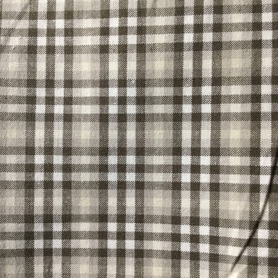 """Plaid Taupe / White   Drapery / Slipcover Fabric    54""""  Wide   By the Yard"""
