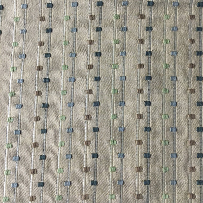 Tan with Green Brown Squares | Slipcover / Upholstery Fabric | 54 Wide | BTY