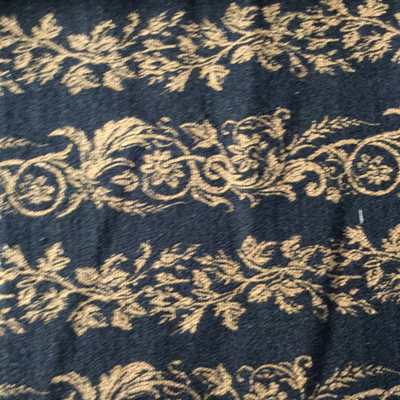 Decorative Floral Vine Stripes   Black / Tan   Upholstery Fabric   54 Wide   BTY