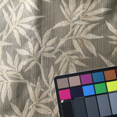 Modern Bamboo Leaf Jacquard Fabric | Brown | Upholstery / Slipcover | 54 Wide