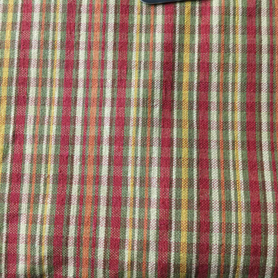 Stripes with Subtle Plaid   Red / Yellow / Green   Slipcover Fabric   54 Wide